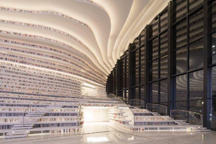 ห้องสมุด Tianjin Binhai Library ที่ตั้งอยู่เมืองเทียนจิน ประเทศจีน